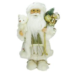 16 Graceful Standing Santa Claus Christmas Figure in Ivory with Teddy Bear