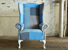 Modern British and handmade bold sky blue Chesterfield Totally unique in a range of colourful linens ranging in blue hues Chesterfield Chair, Wingback Chair, Patchwork Chair, Linens, Sofas, Accent Chairs, British, Range, Sky