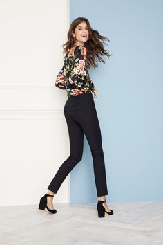 Make your workwear interesting with a pretty floral top