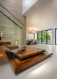 ღღ Modern Staircase With Floating Wood Steps  Glass Railing