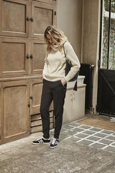 Relaxed sweater + relaxed bottoms  + sneakers