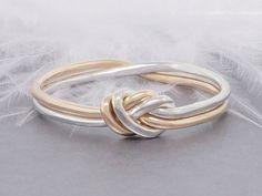 Hou van knoop ring gouden en zilveren ring belofte door TDNCreations