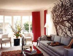 Modern Living Room Red like the silverish couch and red curtains. hint of texture
