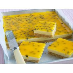 Lemon and passionfruit slice, lemon recipe, brought to you by Woman's Day Lemon Recipes, Sweet Recipes, Baking Recipes, Cake Recipes, Dessert Recipes, Passionfruit Slice, Passionfruit Recipes, Passionfruit Cheesecake, Lemond Curd