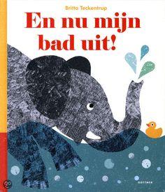 'En nu mijn bad uit!' is een leuk prentenboek over dieren die in bad gaan van Britta Teckentrup. Bijzonder is dat de watervlakken in de tekeningen glanzend zijn, zodat het net lijkt alsof het badwater over de pagina's golft.