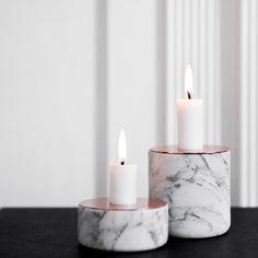 Candelabro Chunk en mármol y cobre. Efecto romántico  www.looloshop.com
