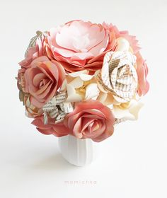 Pink Champagne BOOK ROSES - Paper Flowers - Bridal Bouquet