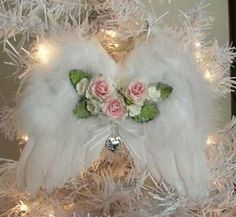 shabby chic heart ornament | Shabby Pink Rose White Angel Wings Xmas Ornament Heart Locket Chic ...