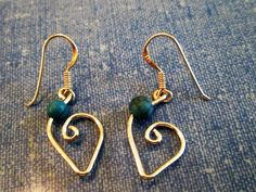 EARRINGS - TURQUOISE - HEART - Fish  Hook -  Sterling Silver  - Dangle 386 by MOONCHILD111 on Etsy