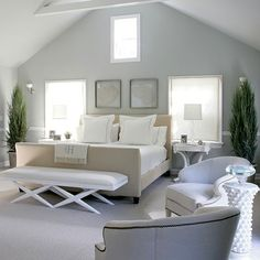 Calm White Bedroom Interior Design and Furniture Ideas - Home Design and Home Interior Beautiful Bedrooms, Home, Bedroom Paint, White Interior Design, Master Bedroom Paint, Beautiful Bedroom Designs, Coastal Bedrooms, Remodel Bedroom, Classic Bedroom