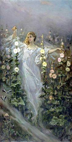 USSR fairytale art, Girl Between Hollyhocks - Wilhelm Kotarbinski