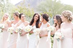 Ashley and Scott Frost's blush El Chorro wedding in Paradise Valley, Arizona photographed by Amy and Jordan and planned by Stephanie Antoinette Events. Amsale Bridesmaid, Bridesmaid Dresses, Pink Bridesmaids, Wedding Dresses, Amy And Jordan, Pink Wedding Colors, Wedding Day Inspiration, Paradise Valley, Wedding 2017