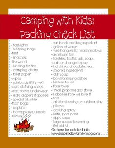camping with kids and babies... tips and lists