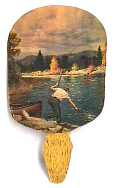 Fly fishing scene on vintage paper flag