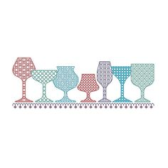 BLACKWORK pattern wine glass glasses glass by CottonSeason on Etsy, £1.50