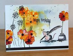 Penny Black Cards, Penny Black Stamps, Print Thank You Cards, House Mouse Stamps, Hand Stamped Cards, Watercolor Cards, Watercolor Painting, Animal Cards, Card Tags