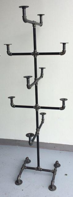 Heavy Duty Pipe Hat Rack - Hat Stand - Industrial Style Hat Rack - Black Clothing Rack - Hat Storage by WilliamRobertVintage on Etsy https://www.etsy.com/listing/247885818/heavy-duty-pipe-hat-rack-hat-stand