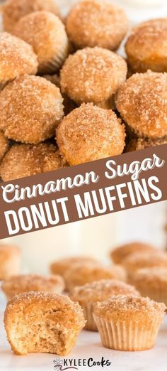 A hybrid between a donut and a muffin - sweet, fluffy, and dipped in butter and then rolled in cinnamon sugar. These are the perfect treat with coffee or tea! #recipe #muffin #homemade #baking #cinnamon #kyleecooks