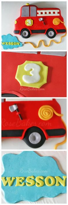 Easy Firetruck Cake Carved from a Sheet Cake