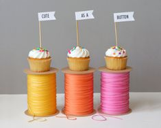 embroidery floss around same colored cardstock!   Cute as a Button Party Decor