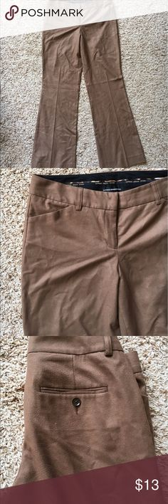 Express trousers Gently loved Express trousers! Sable brown color. The material of these is almost like a thick faux suede. The last picture shows some pilling in the thigh area but it's not noticeable when the pants are on! Definitely have a lot of life left in them, but I did reduce the price because you can tell that they have been loved!! Make me an offer! Express Pants Trousers