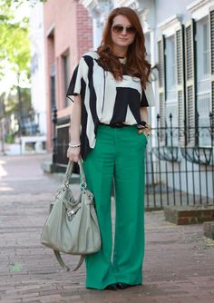Geometric Top + Green Pants via Alison http://www.chainstrappurse.com/2012/04/outfit-post-geometric.html