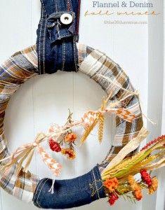 36th avenue flannel and denim wreath