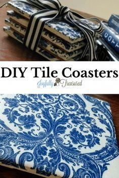 Diy Home Decor Easy, Handmade Home Decor, Cheap Home Decor, Handmade Table, How To Make Coasters, Diy Coasters, Ceramic Coasters, How To Make Tiles, Making Coasters