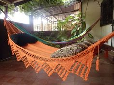 One Color Single Hammock Hand-Woven Natural Cotton Triangle