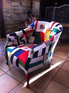 """If you know any Rugby players who'd like a chair like this covered in old shirts when they retire Pls rt"" Houses In France, Hotel Indigo, Furniture Covers, Dresser Furniture, Recycled Furniture, Man Cave, Rugby Shirts, Rugby Jerseys, New Homes"