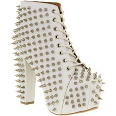 Jeffrey Campbell Lita all over spike white leather ($260) ❤ liked on Polyvore
