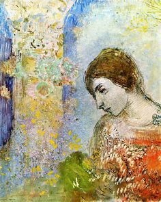 Woman with Pillar of Flowers by Odilon Redon