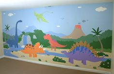 [ Chicago Children S Murals Dinosaur Mural Dinosaur Decoration ] - Best Free Home Design Idea & Inspiration Kids Wall Murals, Murals For Kids, Ocean Mural, Dinosaur Bedroom, School Murals, Bedroom Murals, Crafts For Boys, Toy Rooms, Illustrations
