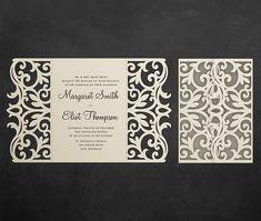 Gate-fold Wedding Invitation Card Template 5x7 Quinceanera