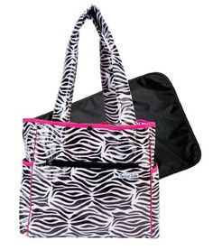 Trend Lab Zahara Tulip Tote Baby Bag (Zebra Print) 14 W x 12 H x 6 - 22 straps.. Removable, coordinating changing pad included.  #Trend_Lab #Single_Detail_Page_Misc