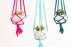 Use jersey fabric to make homemade macrame planters.