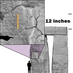 Stonehenge. The transverse working lines on Stone 54, Trilithon Two, Stonehenge.