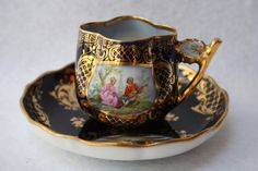 Antique Dresden Germany Miniature Hand Painted Cup Saucer