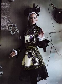 """Freja Beha Erichsen in Givenchy - """"Master Class"""" by Mario Testino for UK Vogue September 2011"""