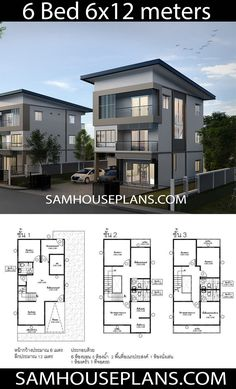 Home Layout Plans 356910339221096651 - House Plans Idea with 6 Bedrooms – Sam House Plans Source by chouniap 2 Storey House Design, Townhouse Designs, Duplex House Plans, Bungalow House Design, House Front Design, Small House Design, Modern House Design, One Storey House, 6 Bedroom House Plans
