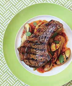 Grilled Pork Chops With Spicy Peaches and Mint recipe: Look for ripe but not too soft peaches, which hold up better on the grill.