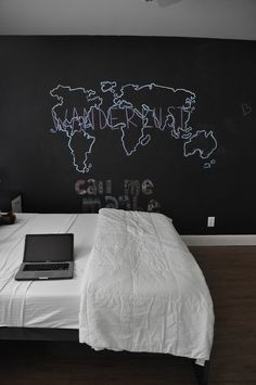 chalk board wall, maybe a guest room where everyone who stays there signs in?