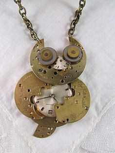 Steampunk Recycled Watchparts Owl Pendant Necklace | TimelessDesigns - Jewelry on ArtFire