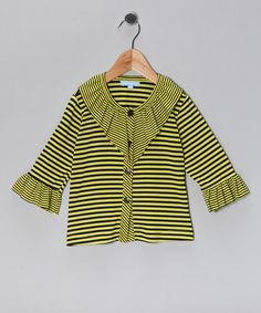 Take a look at this Yellow & Black Stripe Ruffle Cardigan - Toddler & Girls by Willoughby on #zulily today!