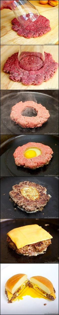 Burger and eggs. Mmm a hangover burger. I'd add some bacon, Tabasco sauce, and you have the perfect brunch burger. I Love Food, Good Food, Yummy Food, Beef Recipes, Cooking Recipes, Sausage Recipes, Griddle Recipes, Recipies, Cooking Ideas