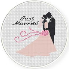 Just Married Handmade Unframed Cross Stitch by CustomCraftJewelry