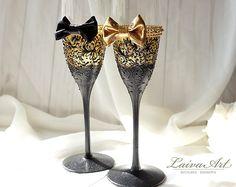 Gold Wedding Champagne Glasses Gatsby Style Wedding Toasting Flutes Gold and Black Wedding