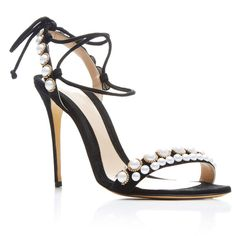 Monique Lhuillier     Reese Sandal (41,750 DOP) ❤ liked on Polyvore featuring shoes, sandals, heels, black, black embellished sandals, embellished sandals, heels stilettos, decorating shoes and kohl shoes