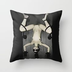 Art of Bondage - torture bed, girl nude, tied slave Throw Pillow