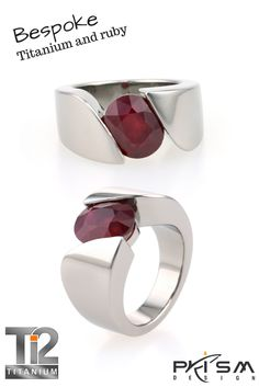 Titanium ring set with a Mozambique #ruby. This was a bespoke #handmade one off #ring carved by hand from a solid piece of #titanium. www.titanium.com